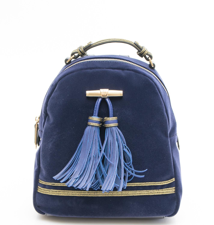 Trussardi Jeans Judy Velvet Shoulder Backpack Blue - Shop Online At ... 6b1fc8a892d