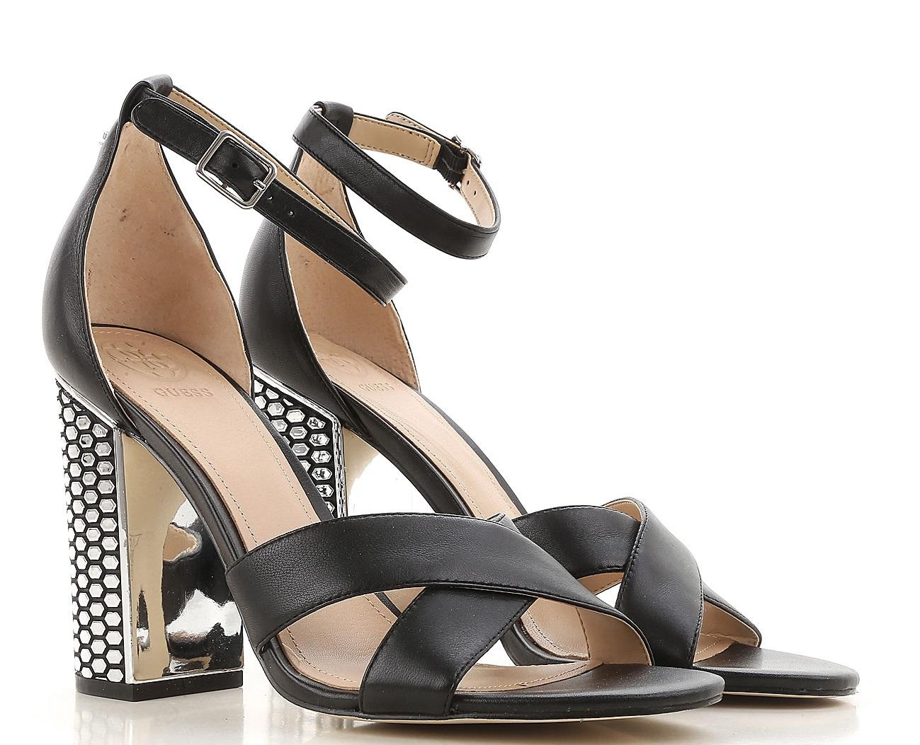 8adb01d0a Guess High Sandals Abriana, In Leather Black - Shop Online At Best ...