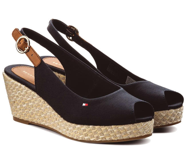 4d22a634d Tommy Hilfiger Elba Wedge Sandals Black - Shop Online At Best Prices!