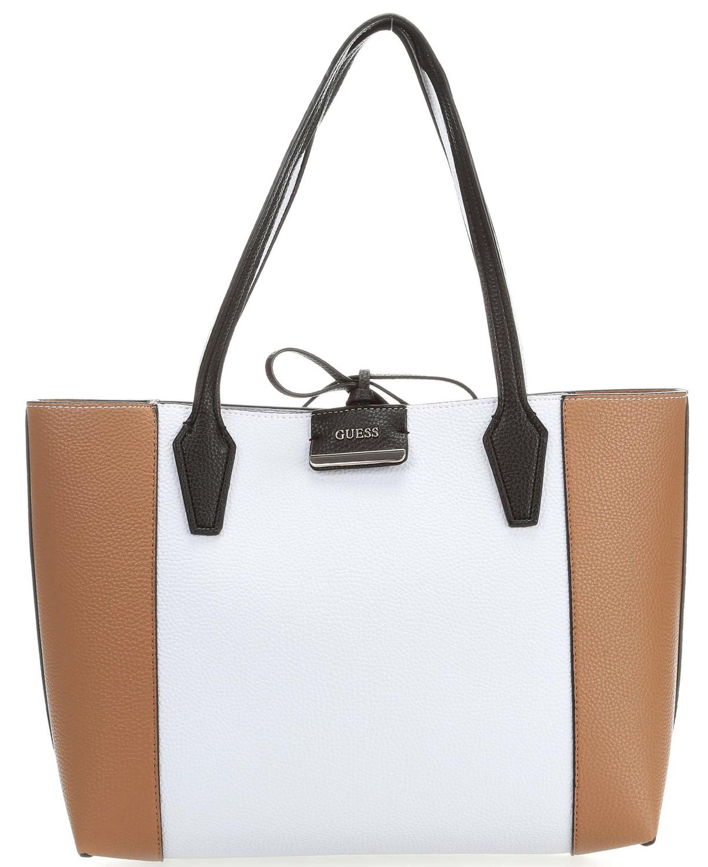 GUESS Bobbi Inside Out Tote Shopper Tasche White Cognac