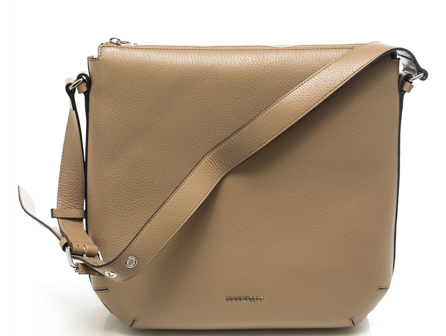 Coccinelle Alyssa Shoulder Bag In Leather Taupe Tau Shop Online At Best Prices